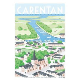 """Affiche encadrée """"Carentan,..."""