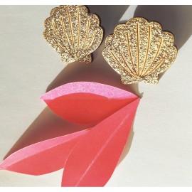 Boucles coquillage dorées