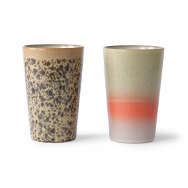 Lot de 2 mugs à thé 70's