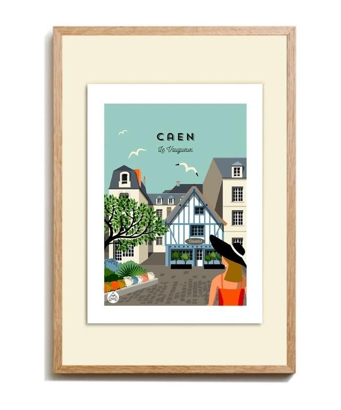 """Affiche encadrée """"Caen, Le..."""